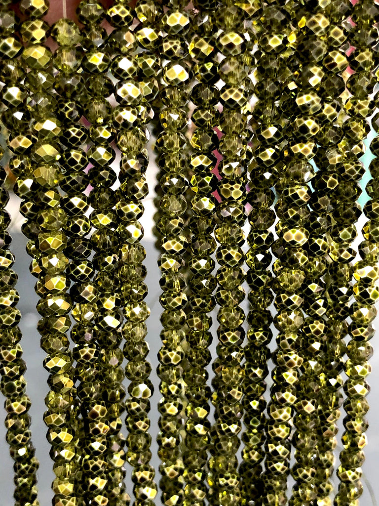 Crystal faceted rondelle - 150 pcs -4 mm - full strand - PBC4C60, Crystal Beads,Beads, glass beads, beads