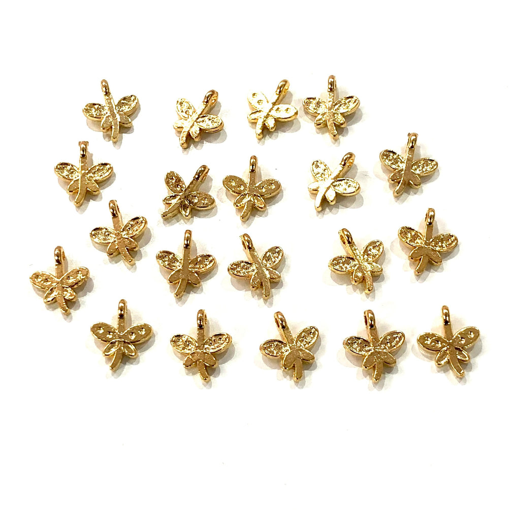 Gold Dragonfly Charms, 22Kt Gold Plated Brass Dragonfly Charms, 20 pcs in a pack