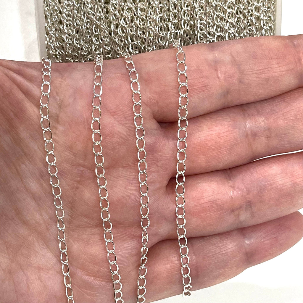 Shiny Bright Silver Plated Extender Chain, 3.5x4.5mm Silver Plated Extender Chain, 1 Meter-3.3Feet Extender Chain