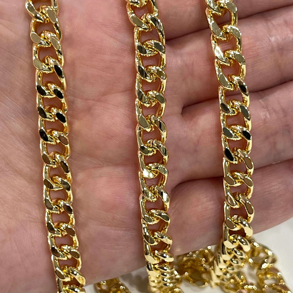 24Kt Shiny Gold Plated Chain, 10x7.5mm Gold Plated Chain,