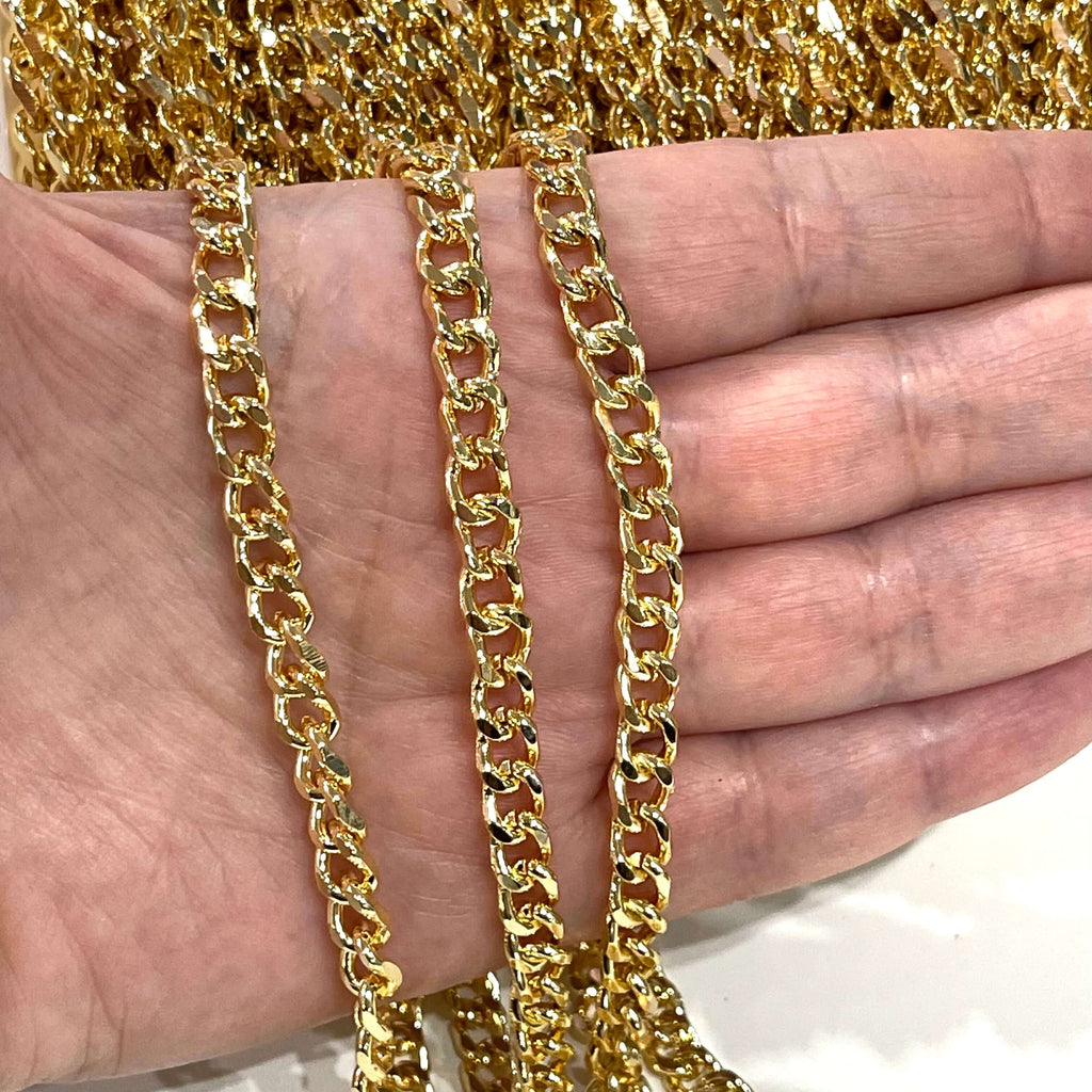 24Kt Shiny Gold Plated Chain, 8x6mm Gold Plated Chain,