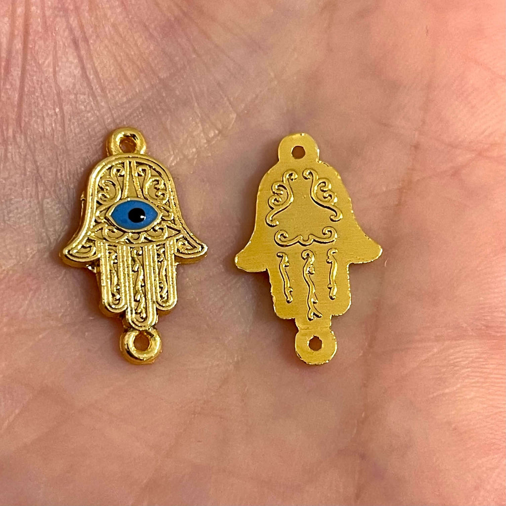 24Kt Gold Plated Enamelled Brass Hamsa Connector Charms, 2 pcs in a pack