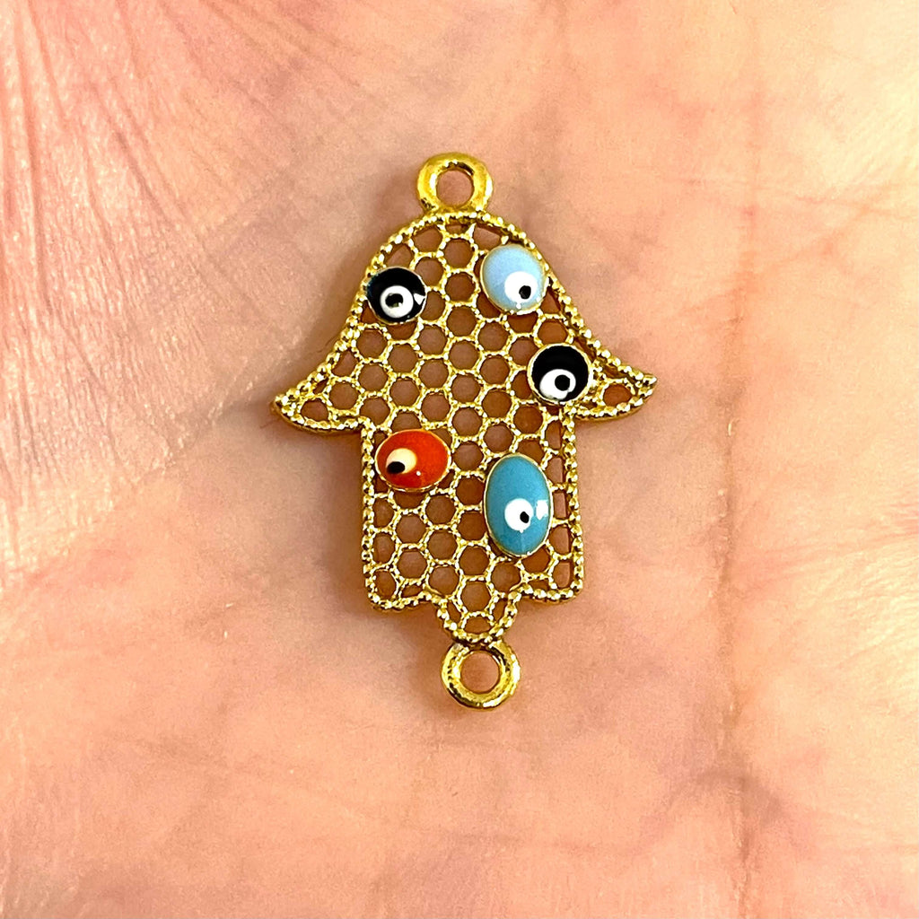 24Kt Gold Plated Enamelled Brass Hamsa Connector Charms,