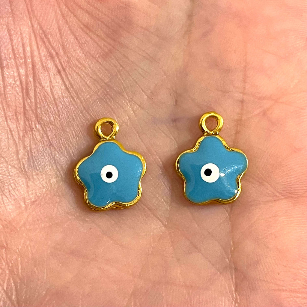 24Kt Gold Plated Brass Evil Eye Charms, 2 pcs in a pack