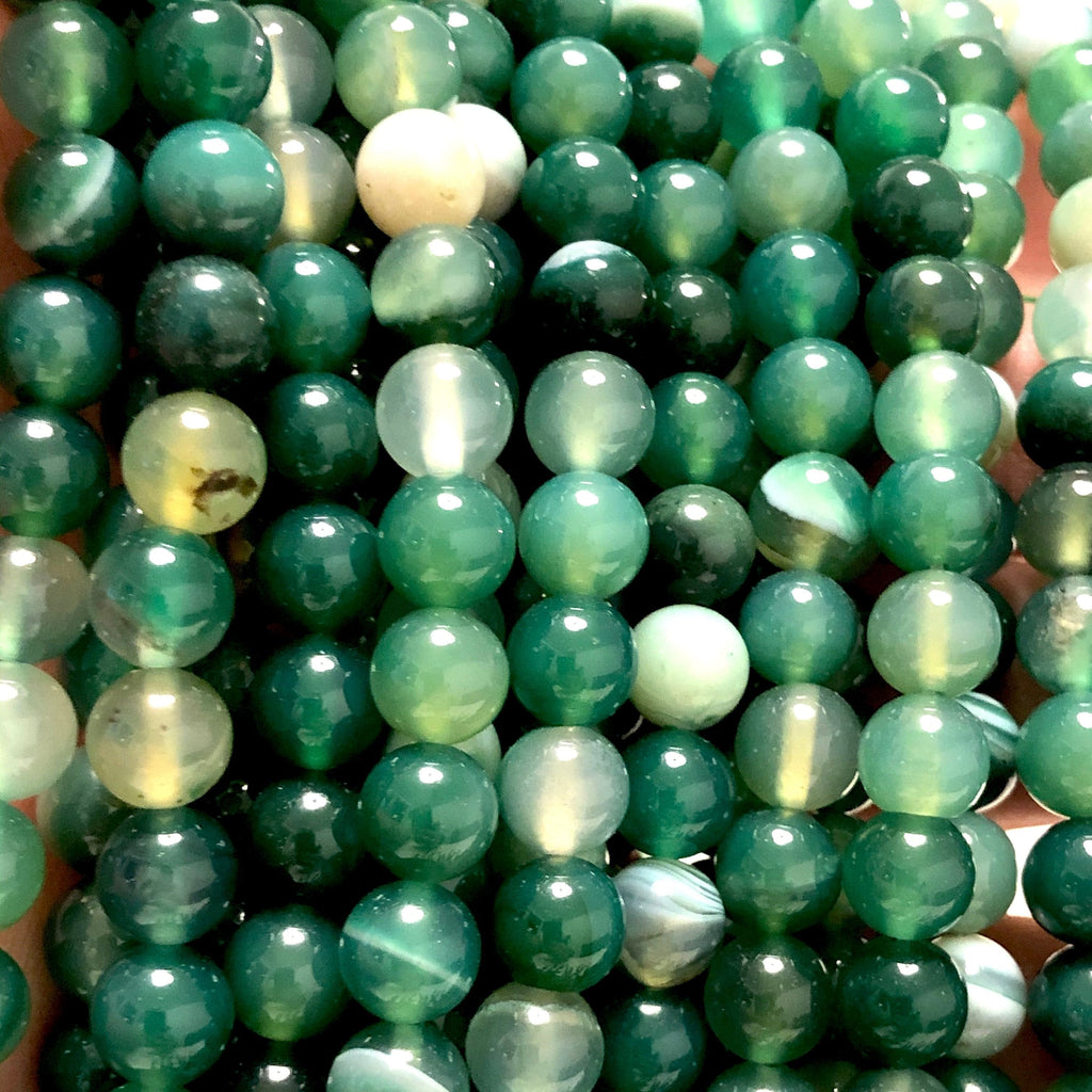 Green Agate Round  8mm, 47 beads per strand,Beads,Gemstone Beads,Natural Gemstone