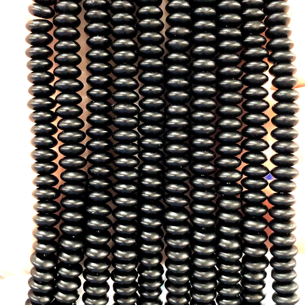 6mm Onyx Matted Gemstone Rondelles, 122 Beads