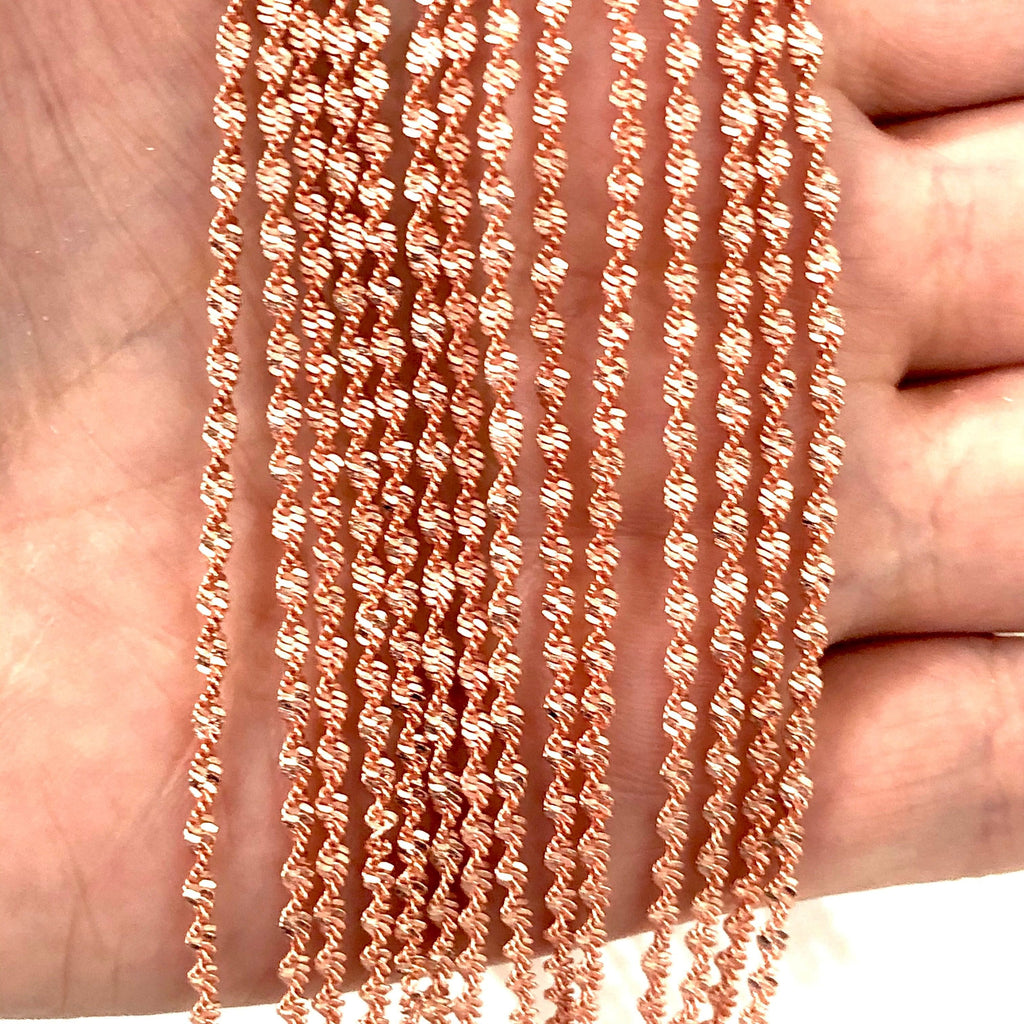 Rose Gold Plated Brass Chain, 3 mm Rose Gold Chain