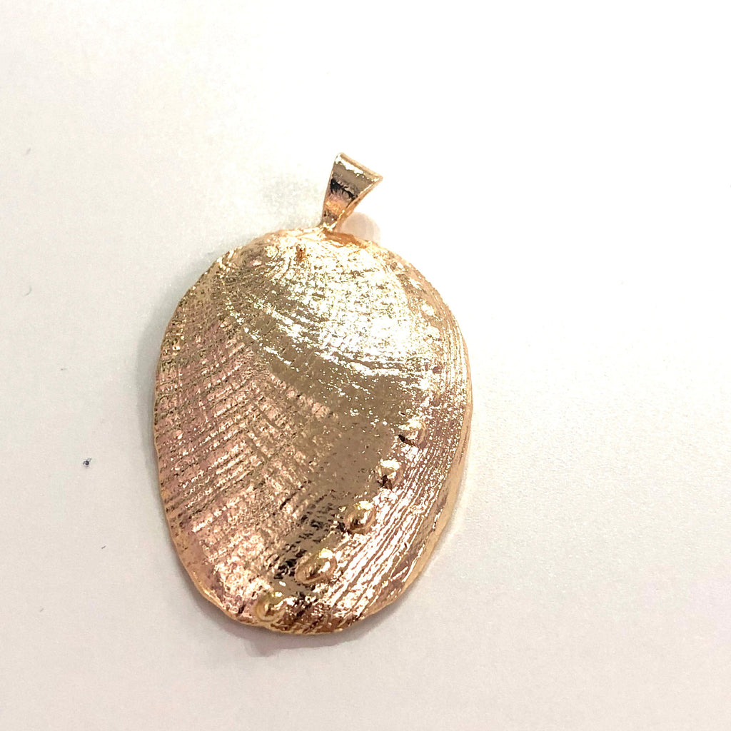 Abalone Pendant, Sea Shell Pendant 3cm, 22Kt  Gold Plated