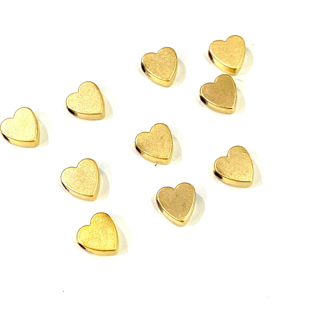 24Kt Matte Gold Plated Heart Spacer Charms, Gold Heart Charms, 10 Pcs in a Pack