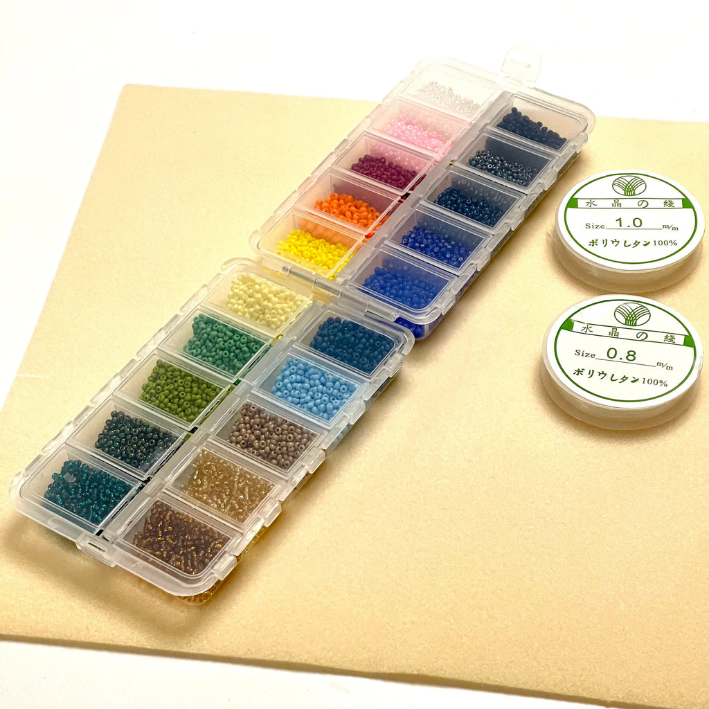 Preciosa Seed Beads Starter Set, 20 Colours 200 Gr 8/0 Round Seed Beads, Two Reels Elastic Cords,Container, Bead Mat