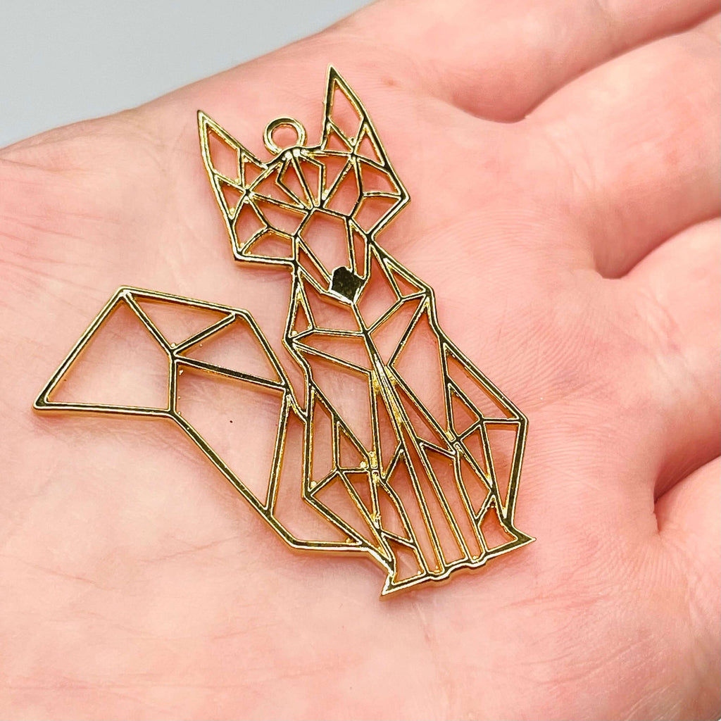 24Kt Shiny Gold Plated Brass Origami Cat Pendant, Cat Necklace Charms,