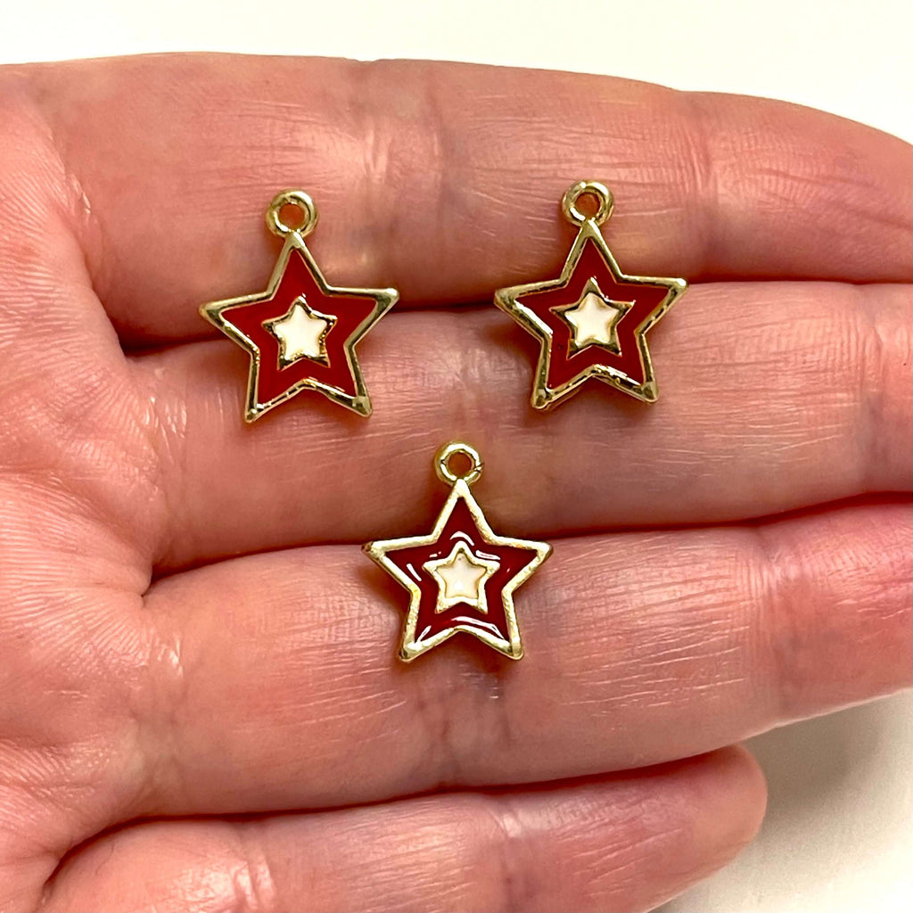 24Kt Gold Plated Enamelled Brass Star Charms, 3 pcs in a pack