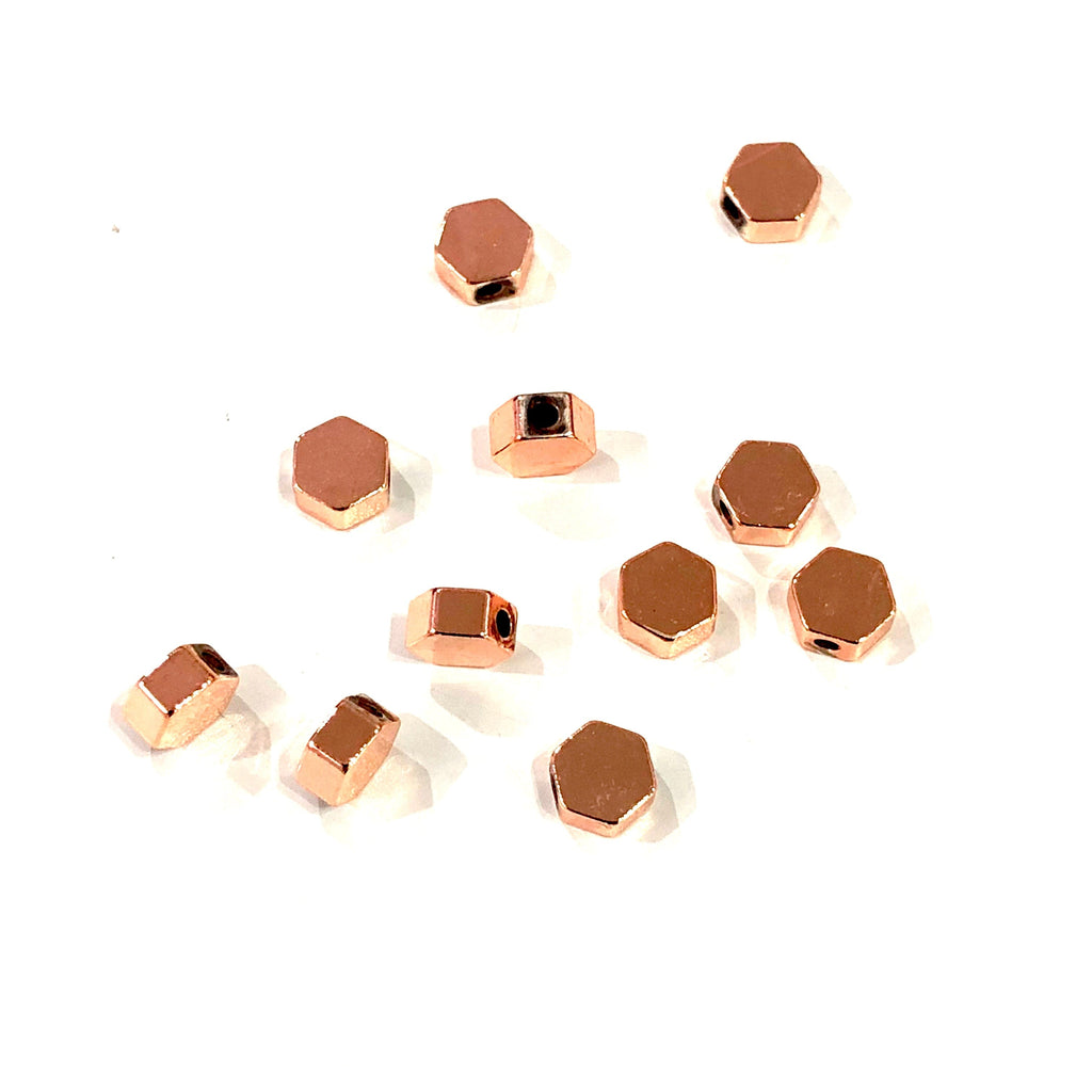 Rose Gold Plated Hexagon Spacer Charms, Rose Gold Hexagon Charms