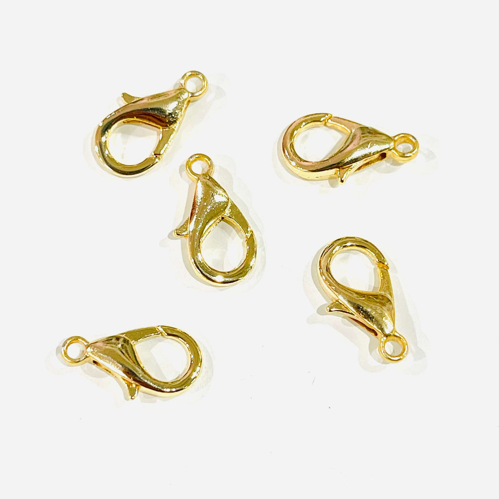 13.5mm x 4.5mm 24K Shiny Gold Plated Lobster Clasps 3 pcs in a pack Gold Plated Carabiner Clasp