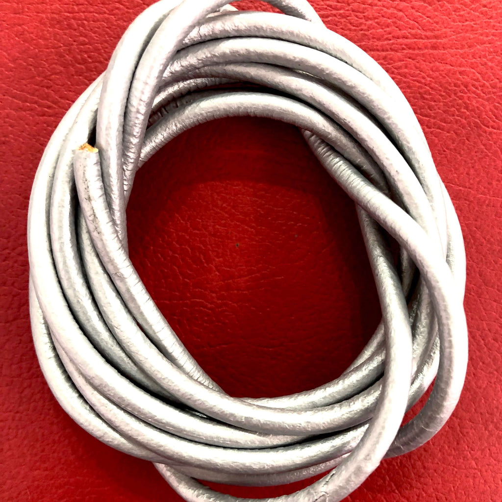 6mm Genuine  Leather Cord, Silver and Brown Colors