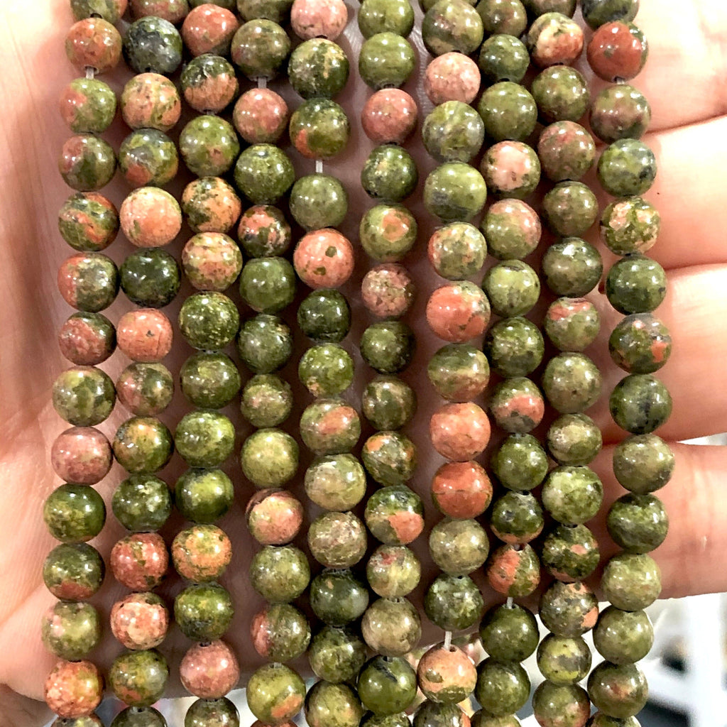 Unakite Jasper 6mm Gemstone Beads, 62 Beads