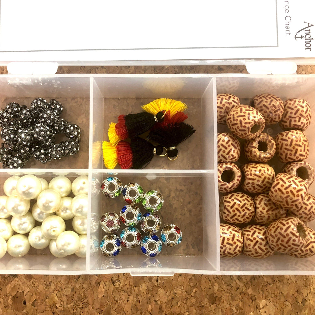 Bead Container, 5 Compartments Clear Plastic Empty Storage Box, Jewelry Beads Display Storage Box,