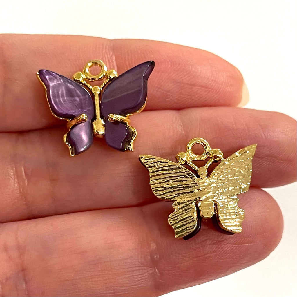 24Kt Gold Plated Brass Hand Made Resin Butterfly Charms
