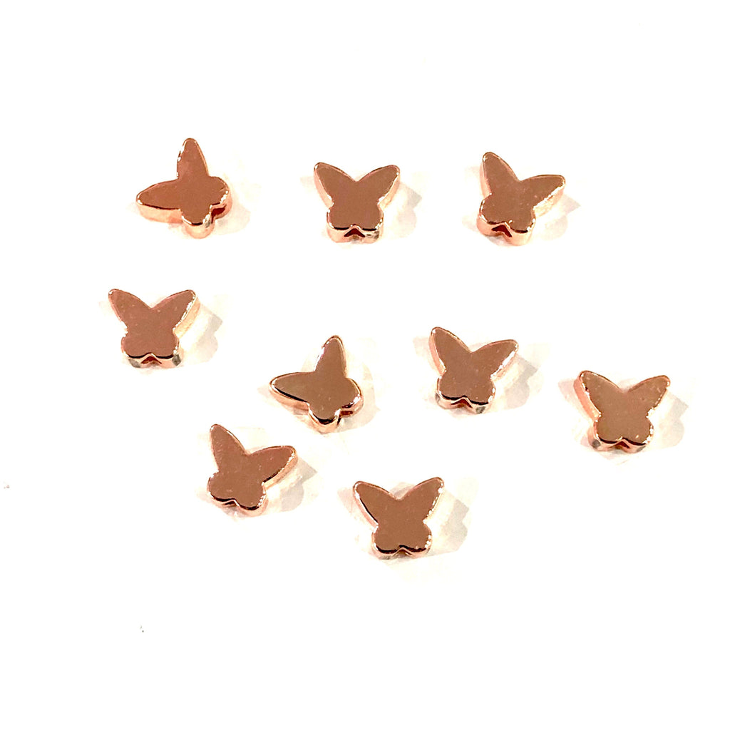 Rose Gold Plated Butterfly Spacer Charms, Rose Gold Butterfly Charms