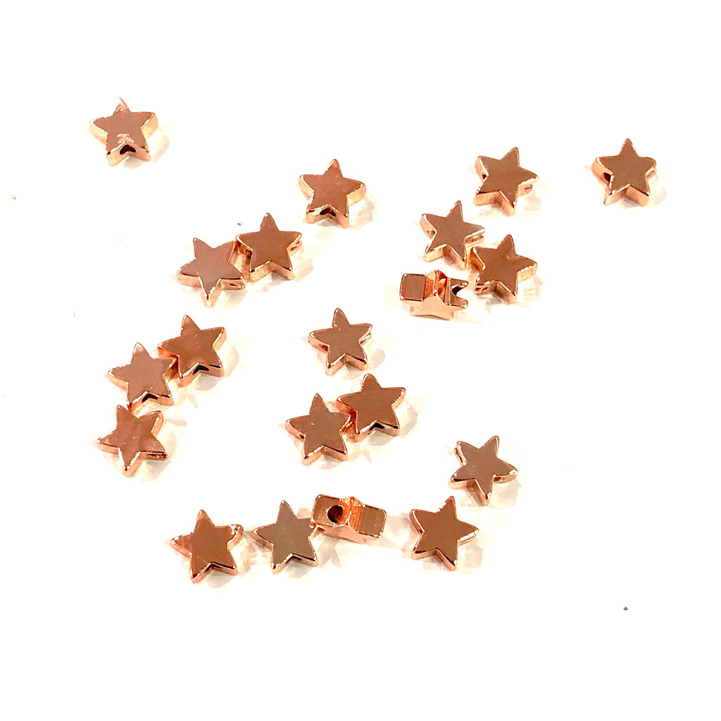 Rose Gold Plated Star Spacer Charms, 7mm Rose Gold  Star Charms