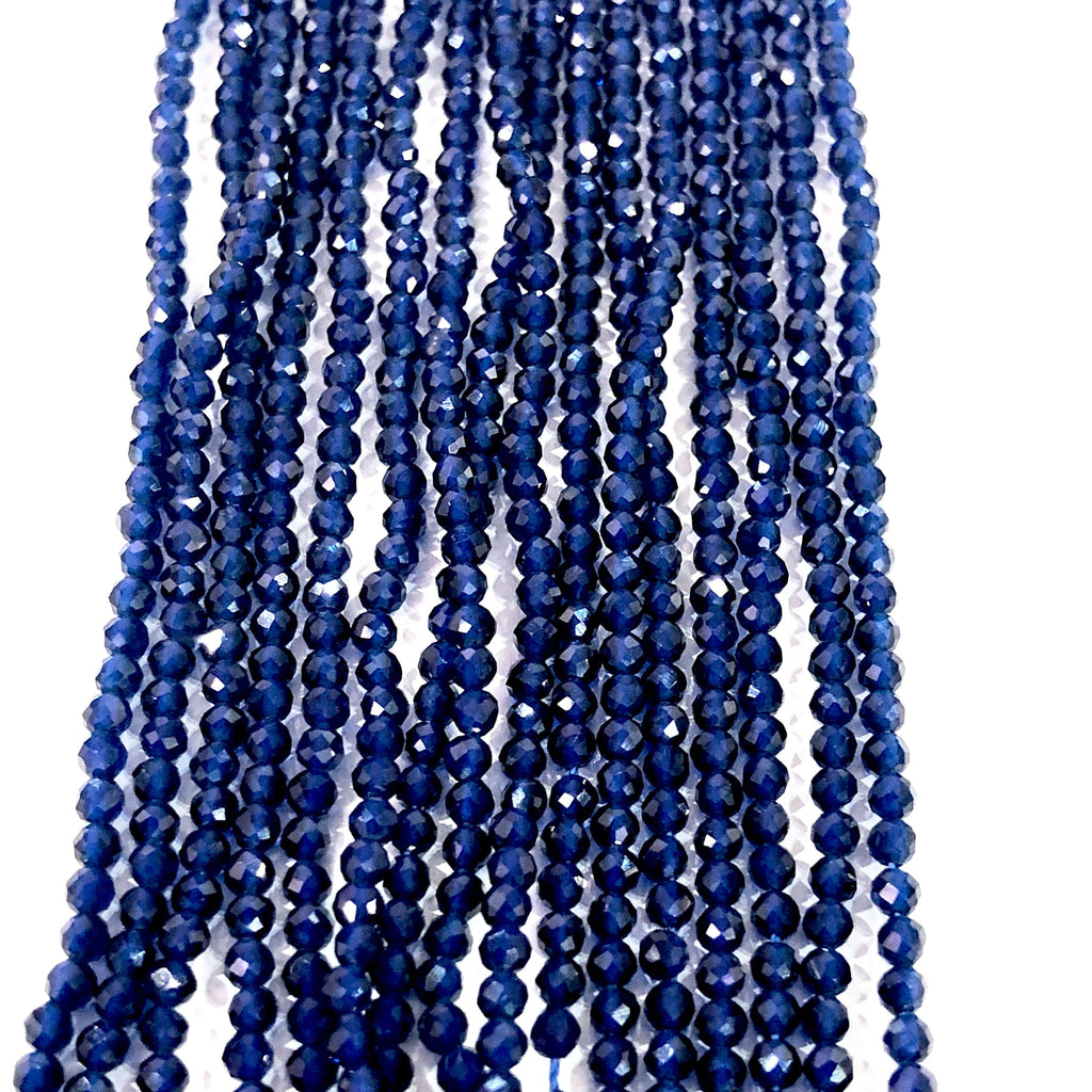 Sapphire Natural Gemstone  - 2mm(2.2mm) micro faceted beads - full strand - 182 beads - AAA Quality