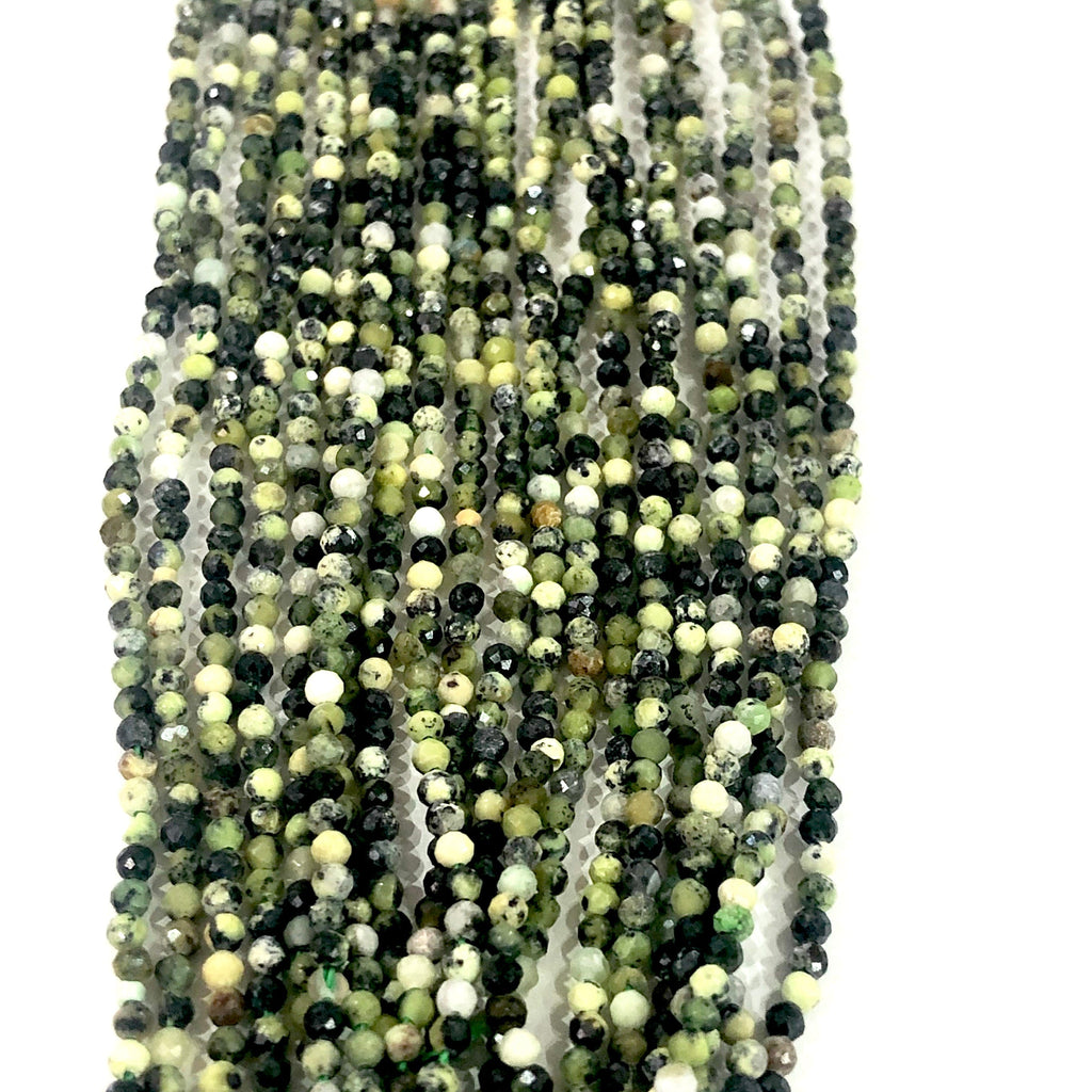 Green Turquoise Natural  - 2mm(2.1mm) micro faceted beads - full strand - 218 beads - AAA Quality