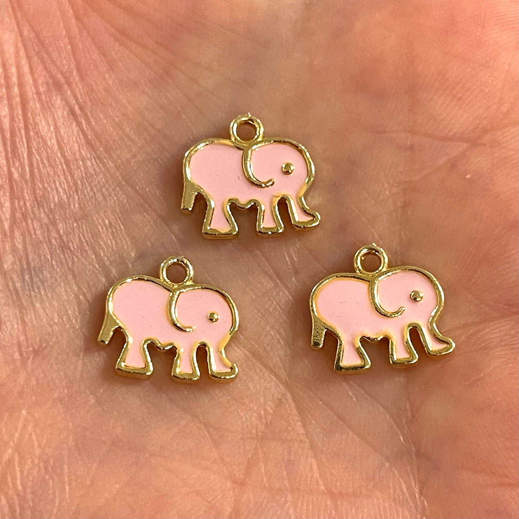 24 Kt Gold Plated Brass elephant Charms, Gold Plated Enamelled Brass Elephant Charms, 3 pcs in a pack