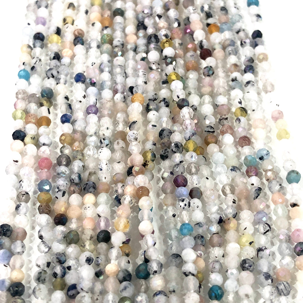 Moon Stone Natural Gemstone  - 2,5 mm(2.45mm) micro faceted beads - full strand - 182 beads - AAA Quality