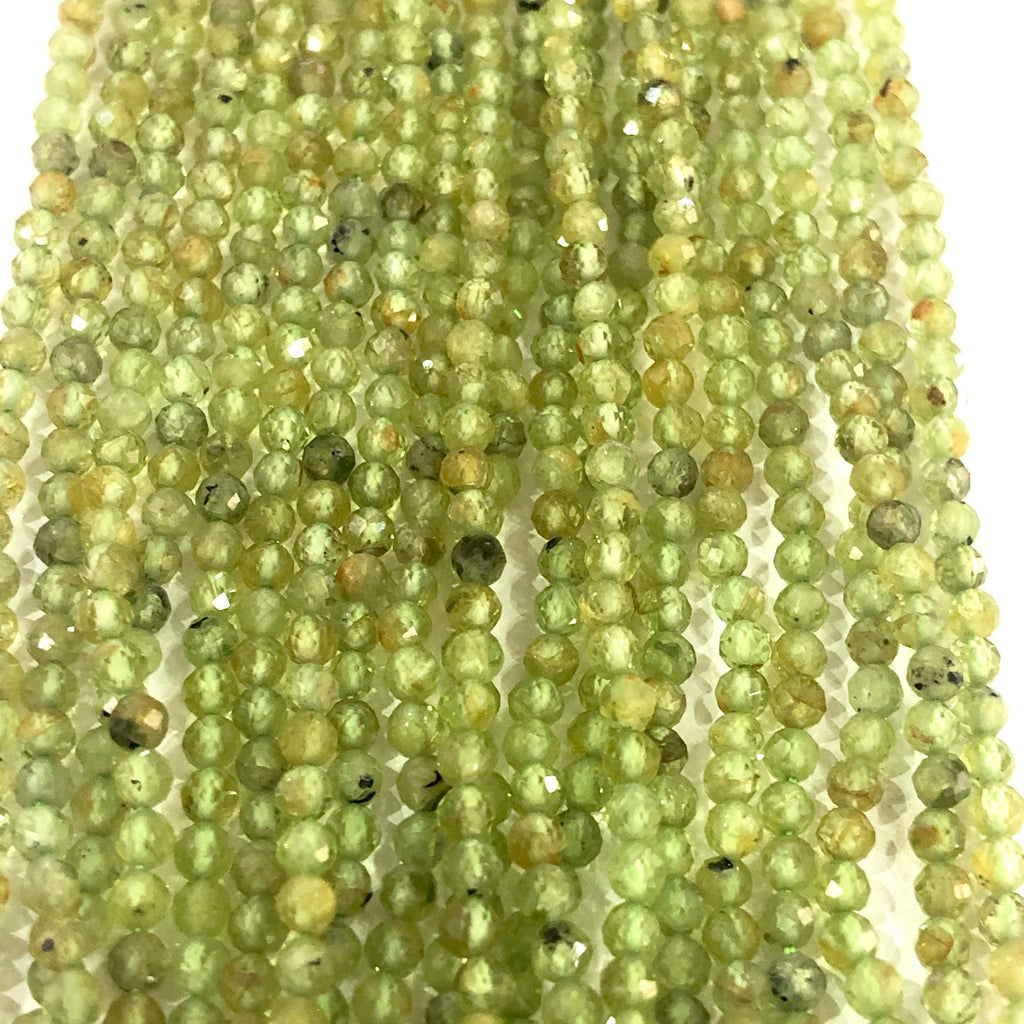 Peridot Natural Gemstone  - 2,5 mm(2.65mm) micro faceted beads - full strand - 150 beads - AAA Quality