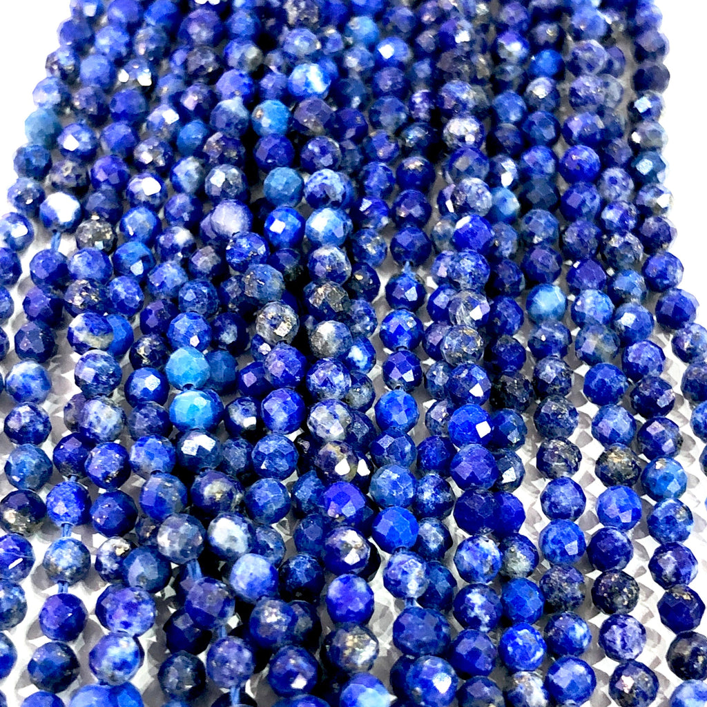 Lapis Lazuli Natural Gemstone  - 2,5 mm(2.60mm) micro faceted beads - full strand - 152 beads - AAA Quality
