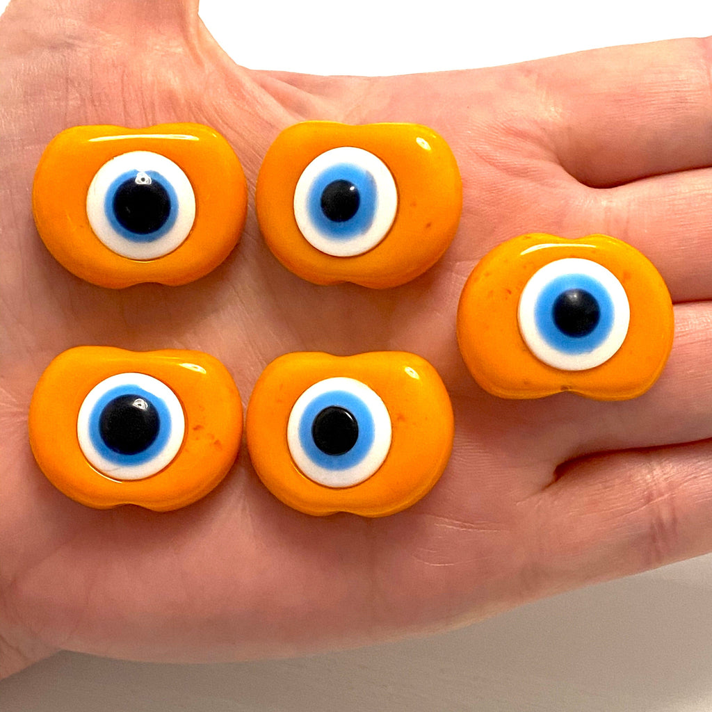 Large Hole Evil Eye Resin Beads, 29mm Beads, 6mm Hole, 5 Beads in a Pack