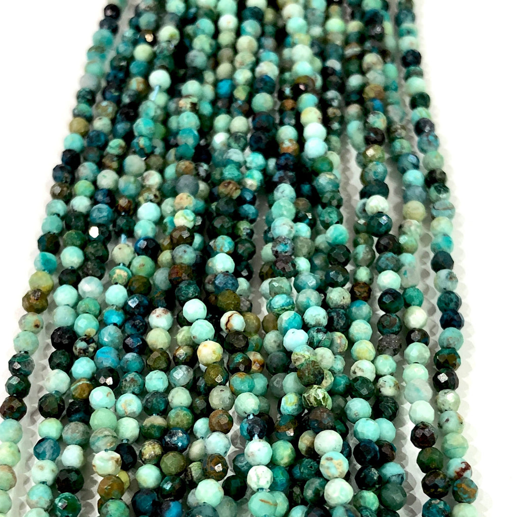 Chrysocolla - 2,5mm(2.57mm) micro faceted beads - full strand - 175 beads - AAA Quality
