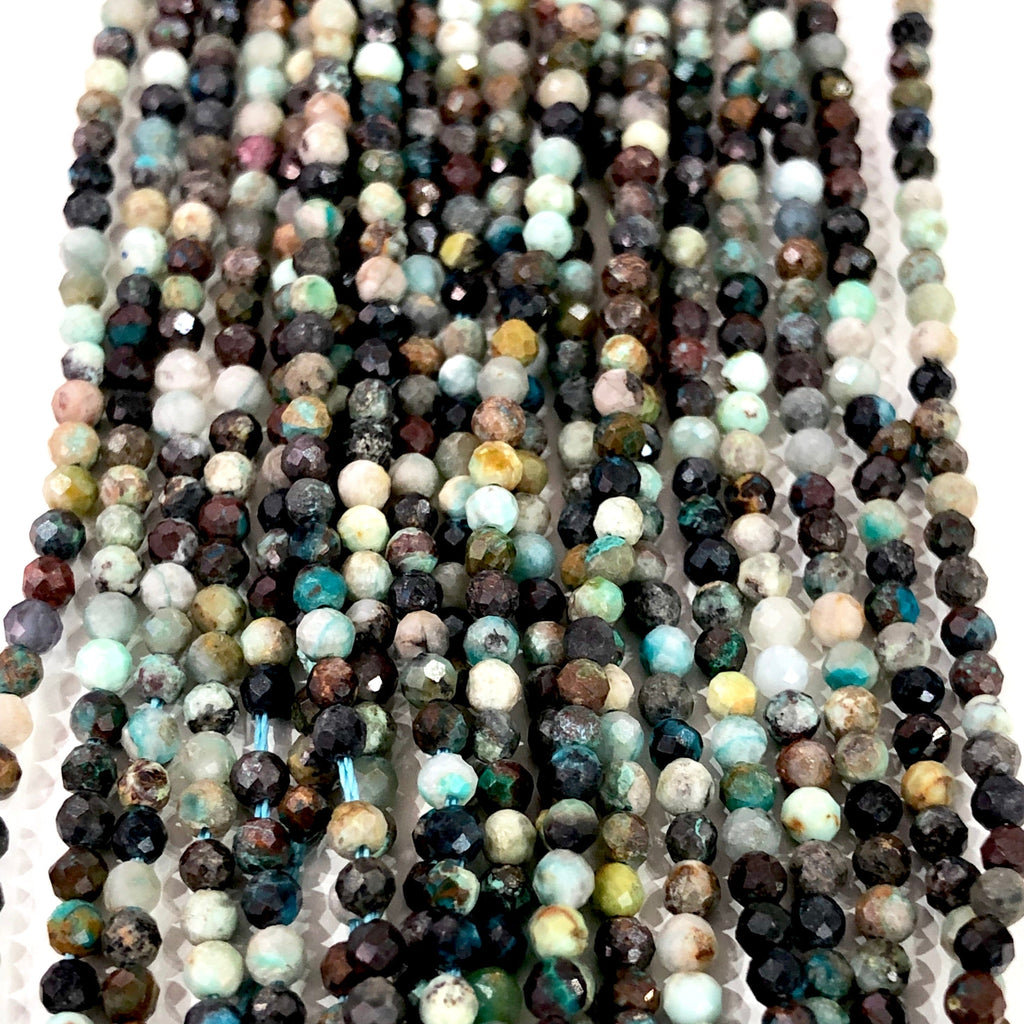 Chrysocolla - 2,5mm(2.57mm) micro faceted beads - full strand - 170 beads - AAA Quality