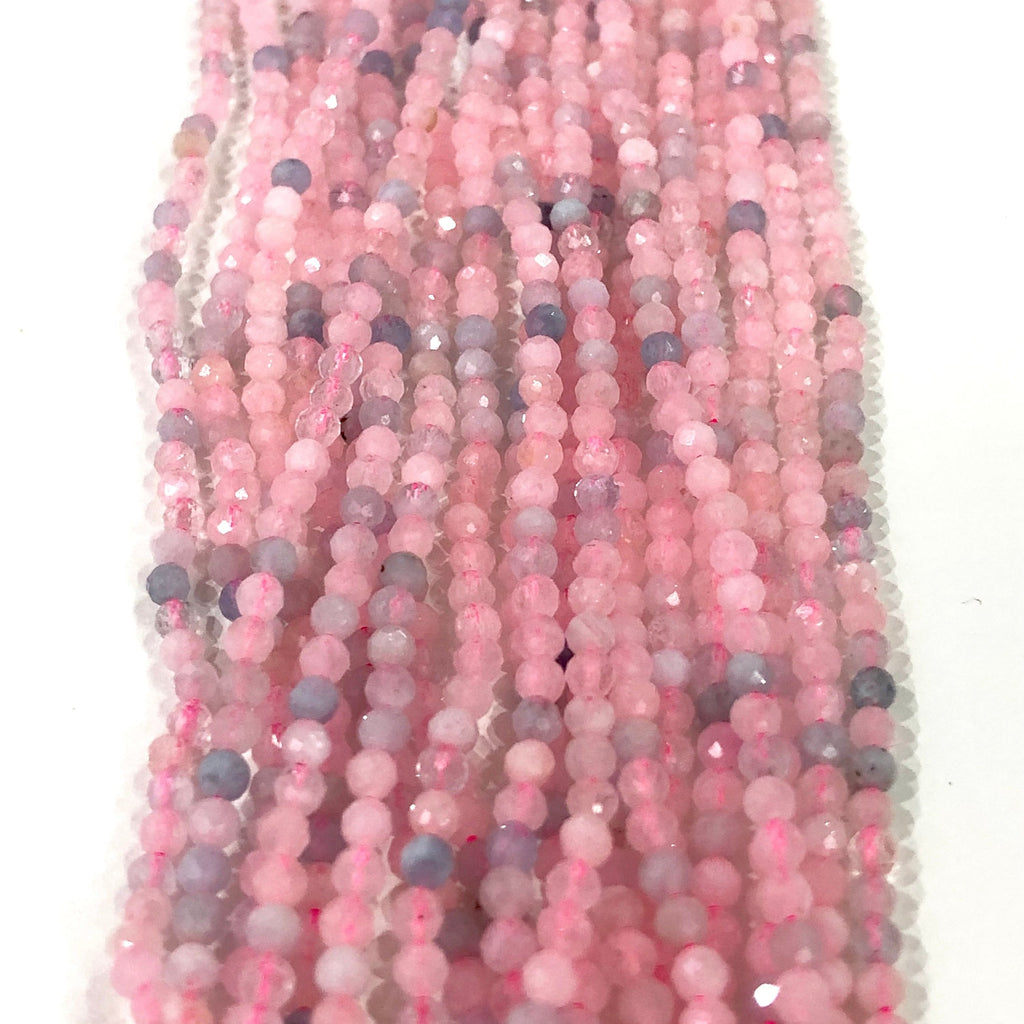 Morganit - 2,5mm(2.7mm) micro faceted beads - full strand - 152 beads - AAA Quality
