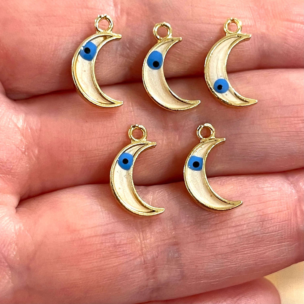 24Kt Gold Plated Brass Crescent Charms With Eye, Gold Plated White Crescent Enamelled Charms, 5 pcs in a pack