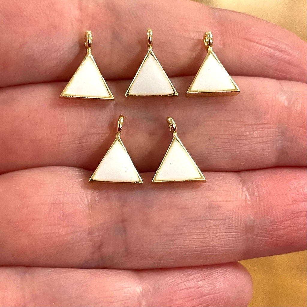 Gold Plated Brass Triangle Charms,Gold Plated Triangle White Enamelled Charms, 5 pcs in a pack