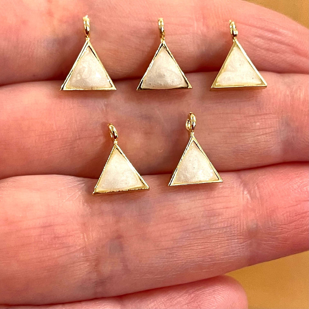 Gold Plated Brass Triangle Charms,Gold Plated Triangle Ivory Enamelled Charms, 5 pcs in a pack
