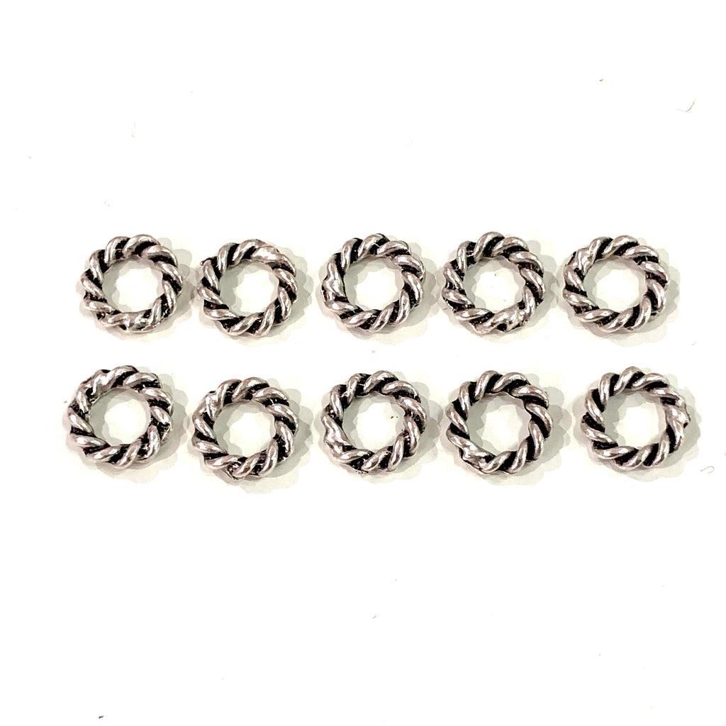 Antique Silver Plated Wheel Charms, Silver Plated Wheel Charms
