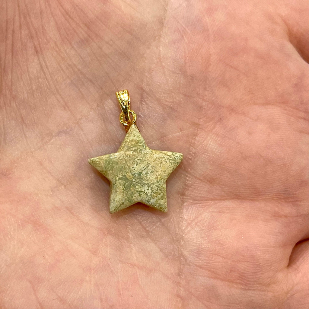 Agate Star Pendant With 24Kt Gold Plated Bail, Genuine Agate Hand Cut Star Pendant