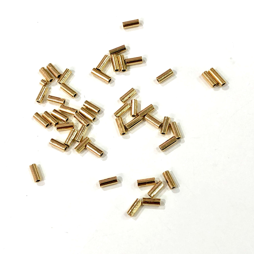 5mm Tube Bead, Spacer Tube Beads, 24 Kt Gold Plated, Gold Spacer Tubes, 50 Pcs in a pack
