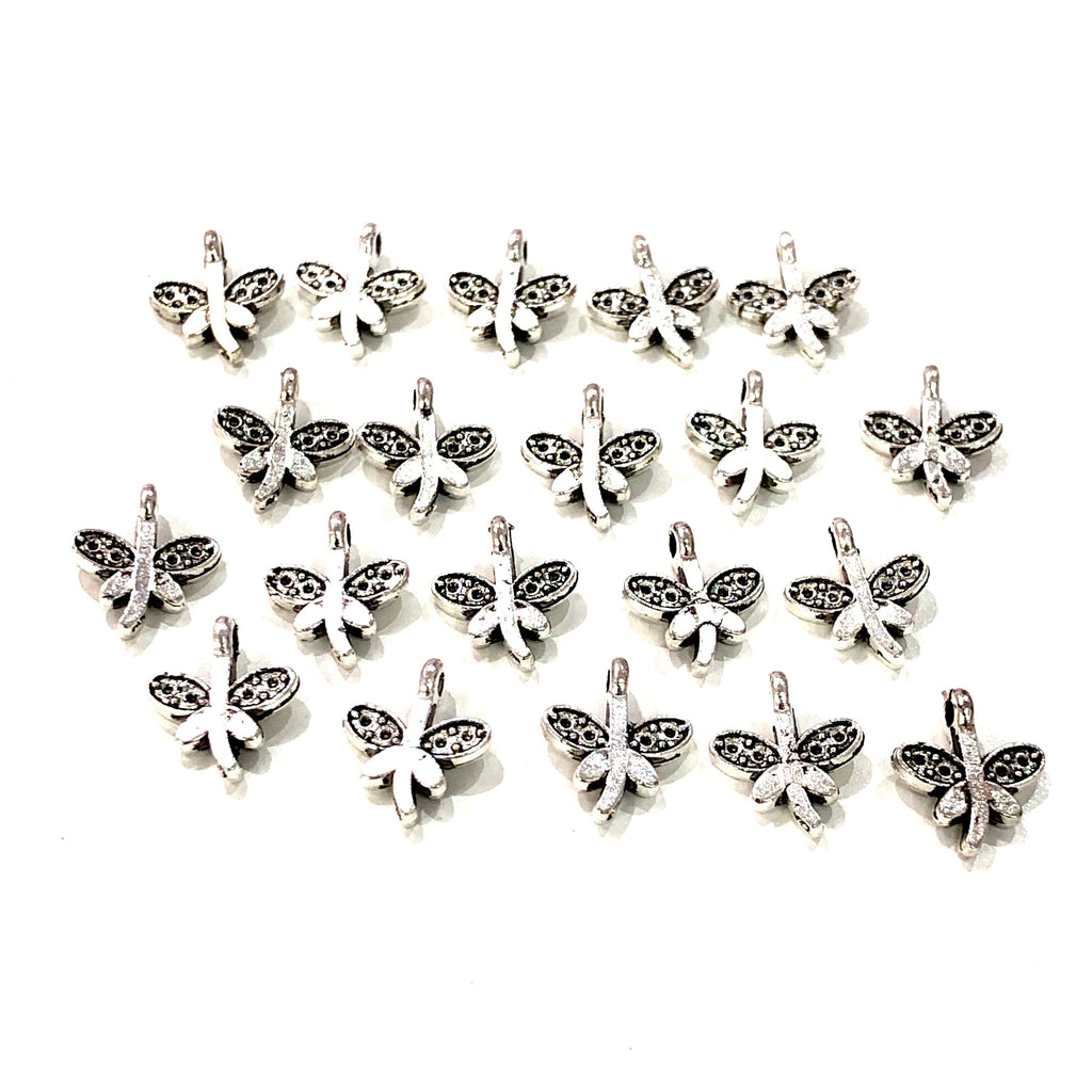 Silver Dragonfly Charms, Silver Plated Brass Dragonfly Charms, 20 pcs in a pack