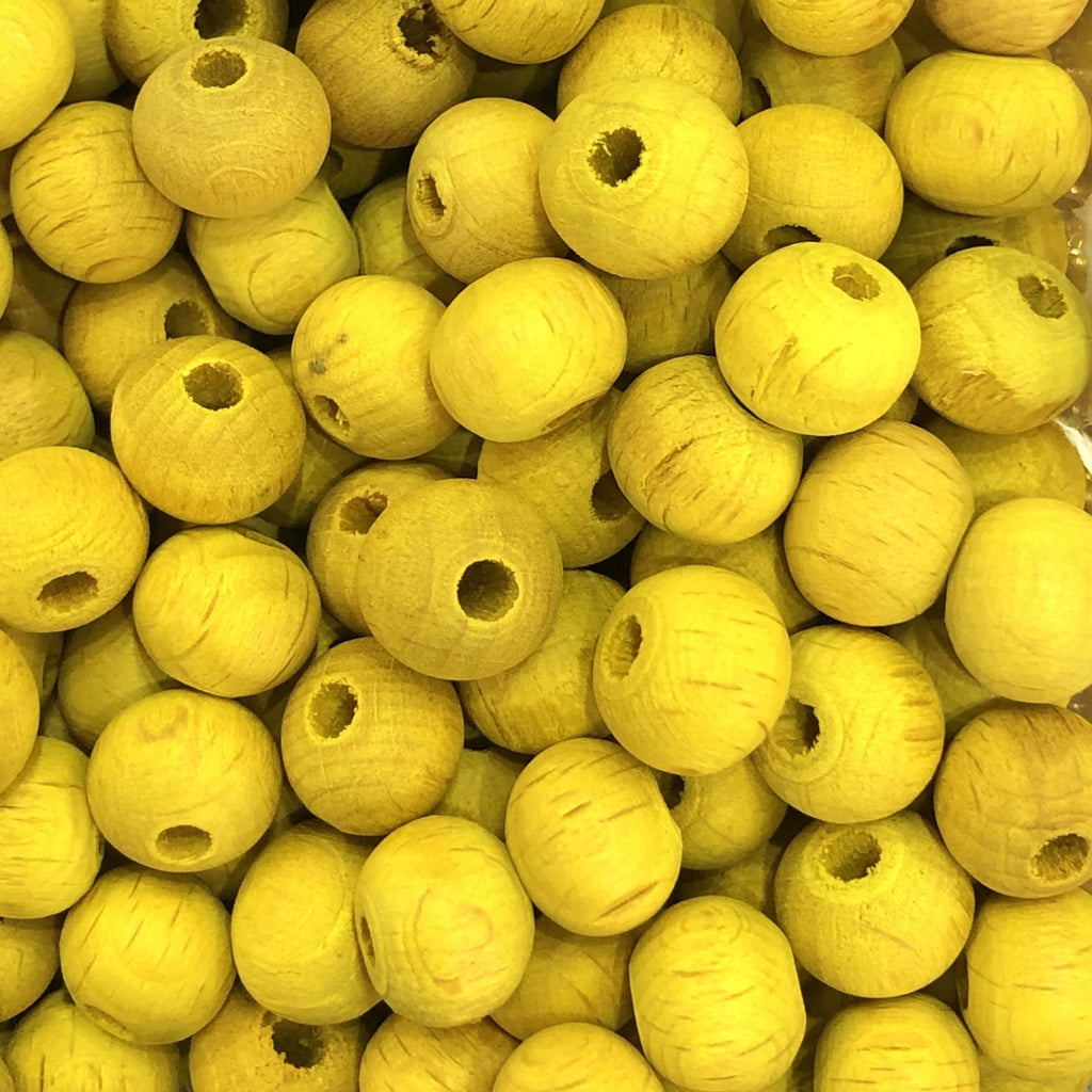 25 Pieces 10 mm Wooden Beads Yellow Color-Matt Finish