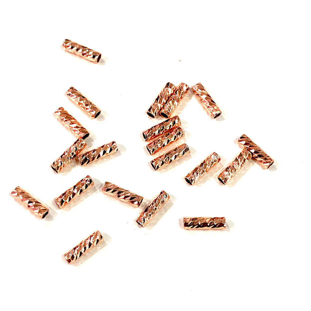 Rose Gold Spacer Tubes, 9mm Rose Gold Plated Spacer Tube