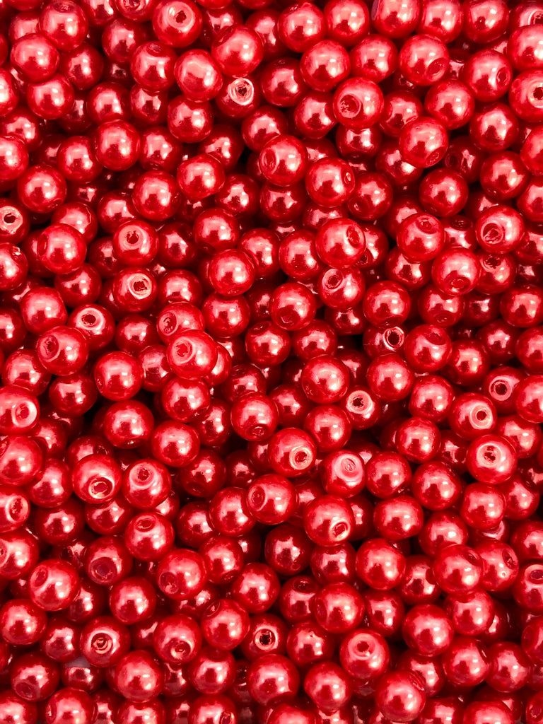 Glass Pearl Beads 3mm 4mm 6mm 8mm, Red Color