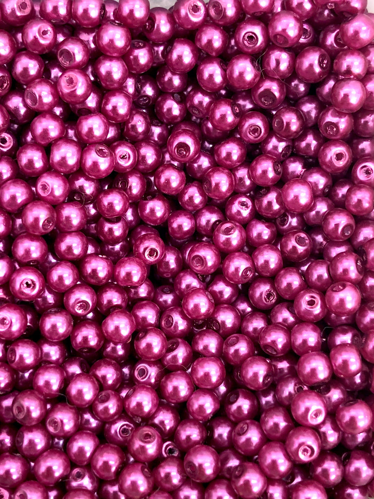 Glass Pearl Beads 3mm 4mm 6mm 8mm, Burgundy Color
