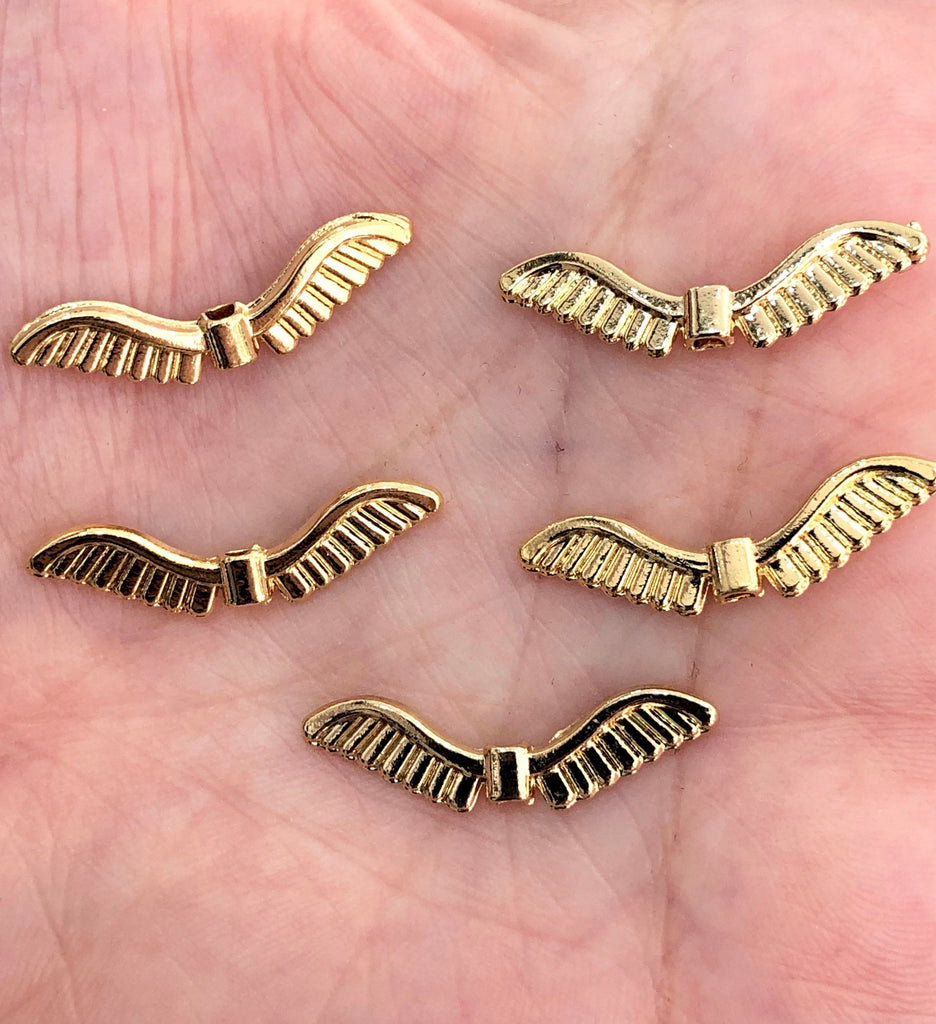 Gold Wing Charms, Gold Wing Pendants, 25 mm Gold Wing Pendants, 5 Pieces in a pack,