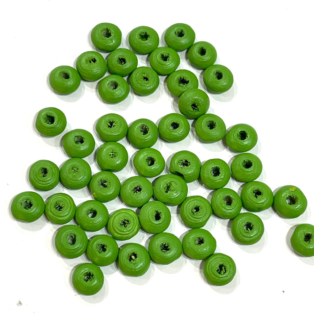 7 mm Wooden Rondelle Beads, Ufo Rondelle Beads- Matte Green Color, 50 Gr Pack