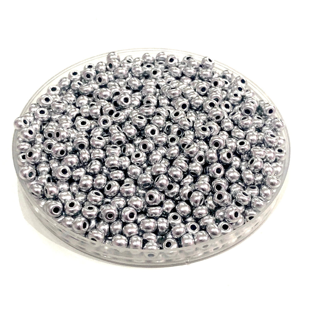 Preciosa Seed Beads 6/0 Rocailles-Round Hole 20 gr, 01700 Soft Silver-PRCS6/0-23,