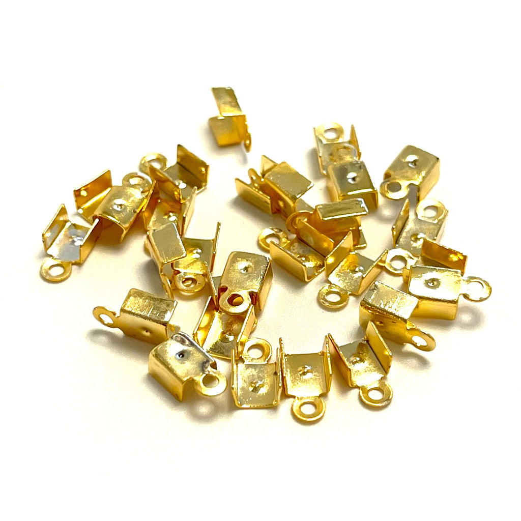 24Kt Gold Plated Fold Over Crimp, Leather end Cap, leather end clasp, ribbon crimp end, metal connector, 5x5 mm 28 Pieces in a pack