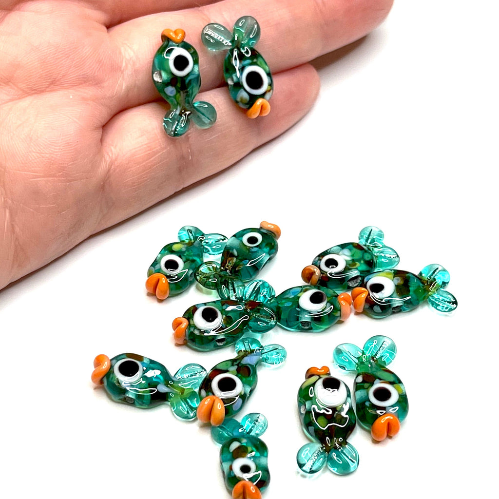 Hand Made Murano Glass Transparent Teal Green Fish Charms, 2 pcs in a pack